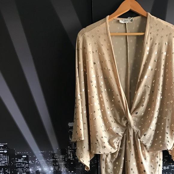 Asos Dresses Flounce London Wrap Front Kimono Midi Dress Gold Poshmark